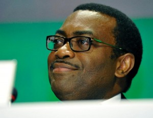 The new president of the African Development Bank Akinwumi Adesina delivers a speech on May 28, 2015 in Abidjan following his election at the AfDB annual meetings (AFP Photo/Sia Kambou)