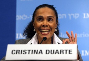 Cristina Duarte, Cape Verde's finance minister, a candidate to be next president of the African Development Bank, would also be the first Portuguese speaker to run the bank (AFP Photo/Nicholas Kamm)