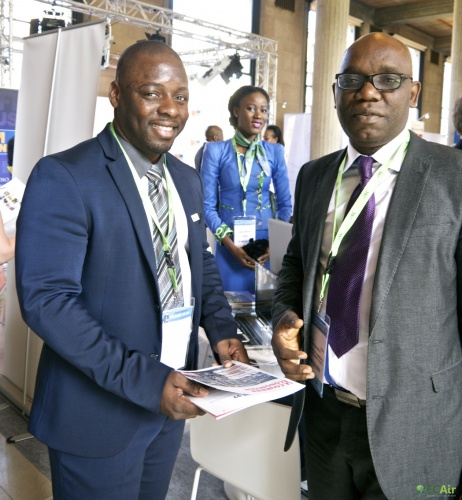 Nicolas Négoce, ECAir Communication & Public Relations manager, with Didier Mavouenzela, President of the Chamber of Commerce, Industry, Agriculture and Crafts of Pointe Noire