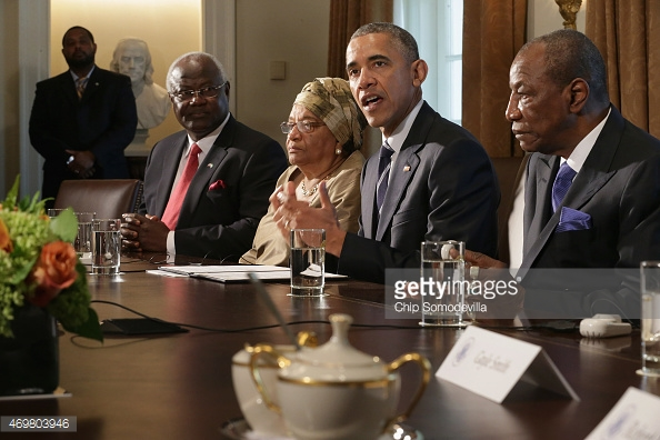 President Conde was received by US President Barack Obama to discuss Ebola relief efforts and efforts to create long term economic recovery .Pic Getty Images