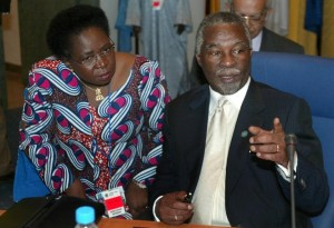 Media reports said then South African president Thabo Mbeki (R) and foreign minister Nkosazana Dlamini-Zuma (L) approved a $10-million payment US investigators suspect was a bribe to get the 2010 World Cup (AFP Photo/Nic Bothma)