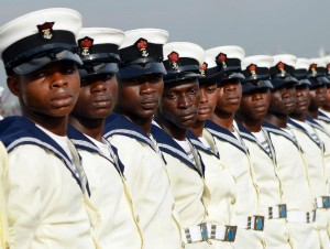 "Nigerian marines attend the commissioning ceremony of the ""NNS Centenary"", an offshore patrol vessel built by Chinese Shipbuilding and Industry Corporation (CSIC) for Nigerian Navy, on February 19, 2015 in Lagos (AFP Photo/Pius Utomi Ekpei)"