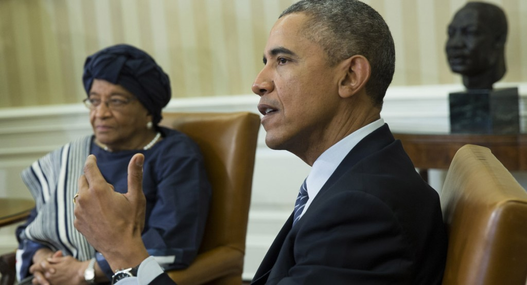 President Barack Obama meets with Liberian President Ellen Johnson Sirleaf in the Oval Office in February. | Getty