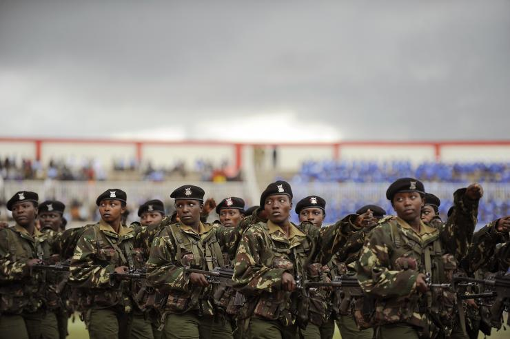 Kenyan armed forces march during celebrations in Nairobi on Oct. 20, 2011. TONY KARUMBA/AFP/Getty Images