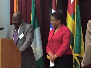 Rep Karen Bass receiving an award from the ECOWAS Ambassadors Group In Washington,DC.
