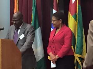 Rep Karen Bass receiving an award from the ECOWAS Ambassadors Group In Washington,DC.