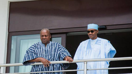Pres. Muhammadu Buhari and John Mahama in Aburi , Ghana State House Photos