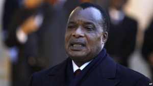 FILE - Republic of Congo President Denis Sassou Nguesso.
