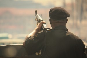 A police guard in Nigeria. Photograph by Stephen Martin.