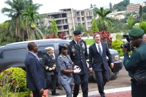 AFRICOM Commander General David M. Rodriguez and Ambassador Michael S. Hoza arrive at the Ministry of Defense on October 16, 2015.