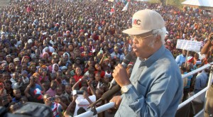 Edward Lowassa, presidential candidate of Tanzania's opposition party CHADEMA -- a coalition of four opposition political parties