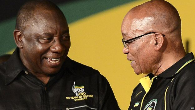Cyril Ramaphosa (L) is believed to be the front runner to succeed Jacob Zuma as African National Congress leader