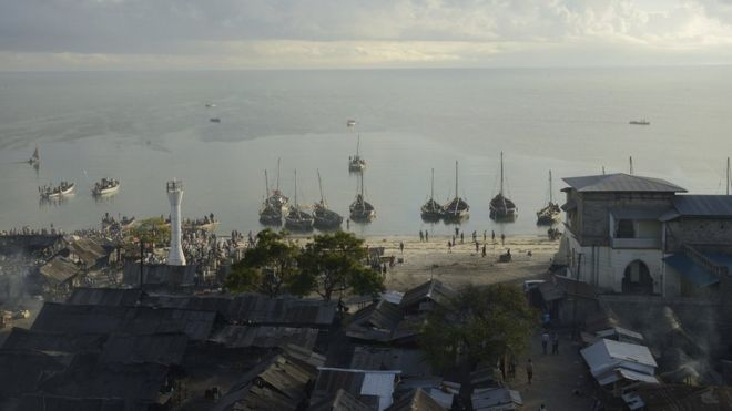 Slaves were once shipped from Bagamoyo across to the island of Zanzibar to slave markets