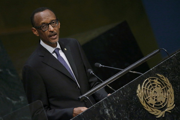 President Paul Kagame of Rwanda addresses attendees during the 70th session of the United Nations General Assembly at the U.N. Headquarters in New York, September 29, 2015.