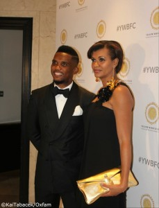 Eto'o and wife at a recent Oxfam charity event