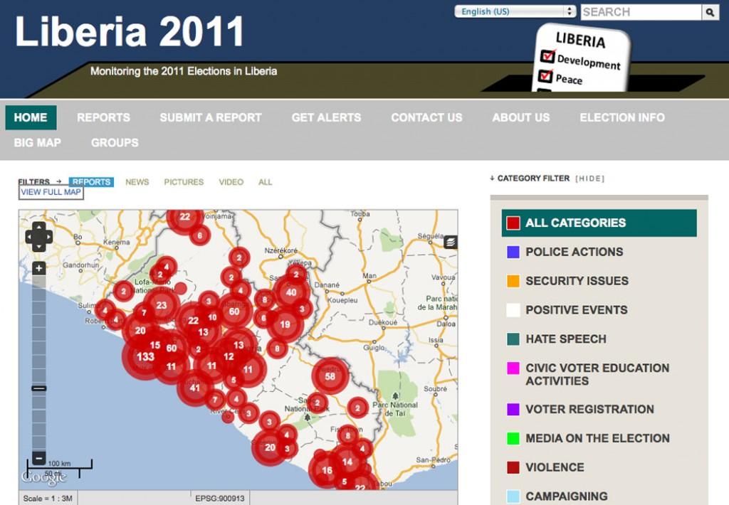 Ushahidi Liberia's election monitoring map. Image: Ushahidi