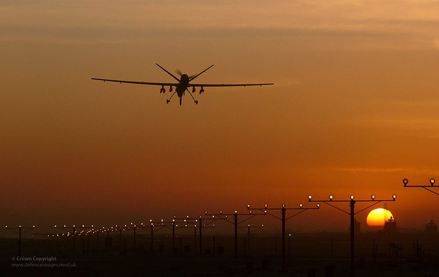 An unmanned Reaper drone comes in to land. Photograph by Fg Off Owen Cheverton/Defence Images.