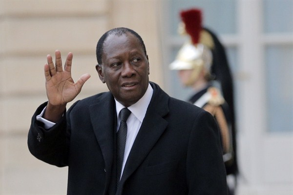 Cote d'Ivoire President Alassane Ouattara waves at reporters after a meeting with French President Francois Hollande at the Elysee Palace, Paris, Dec. 4, 2014 (AP photo by Christophe Ena). Surface Calm Masks Deep Divides Ahead of Cote d'Ivoire's Election Ben Shepherd Wednesday, Sept. 30, 2015 A presidential election on Oct. 25 is likely to bring a second term for Cote d'Ivoire's president, Alassane Ouattara. The economy is booming, with growth rates consistently above 8 percent, and in a region scarred by crises—from the ravages of Ebola to Islamic extremism in the Maghreb and around Lake Chad—Cote d'Ivoire stands out as an attractive