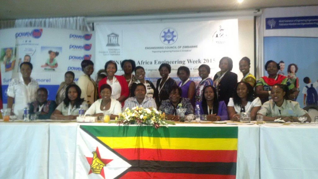 Zimbabwe Institution of Engineers (ZIE) Women in Engineering members at the division launch during the Africa Engineering Week in Victoria Falls in Zimbabwe on 14 to 19 September, 2015.