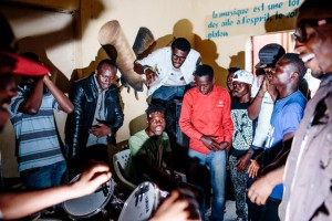 "Hip hop artist Jobson ""Jobs'' Katondolo, left in black jacket, jams with local hip hop artists at Yole!Africa. Memories of the war-torn years he knew as a child are what keep him going. ""I have to hope that one day things will be better,'' he says, ""that's why I'm writing my songs.''Natalie Keyssar"