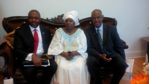 Dr. Nkem Khumbah (left), who Chairs the Constituency for Africa's Science and Technology in Africa committee and Melvin Foote, President of CFA (right), with Dr. Nkosazana D. Zuma, the Chairperson of the African Union Commission, at the formal opening of the African Union's Mission to Washington