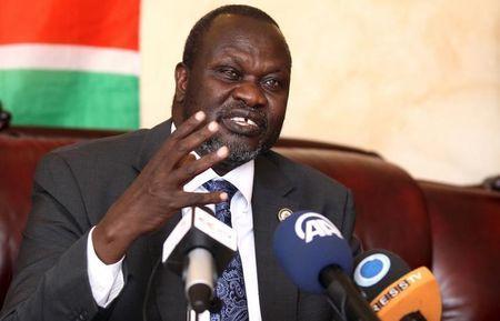 South Sudan's rebel leader Riek Machar addresses a news conference in Ethiopia's capital Addis Ababa, October 18, 2015. REUTERS/Tiksa Negeri