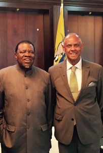 CFA President Melvin Foote with the newly inaugurated President of the Republic of Namibia, H.E. Hage G. Geingob, at the State House in Windhoek, Namibia.Mr Foote was a guest at Geingob's inauguration in March 2015