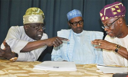 From left, APC National Leader Senator Bola Ahmed Tinubu discussing with. Muhammadu Buhari and National Chairman of APC Chief John Oyegun ,Nigerians are waiting on electoral promises to be delivered. Pic credit Vanguard