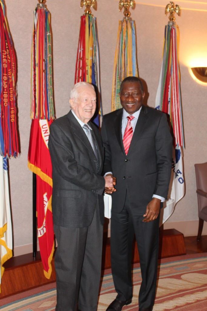 """President Goodluck Jonathan is the symbol of democracy in action,"" said Jimmy Carter"