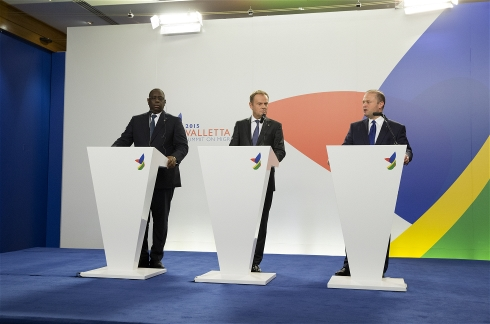 Macky Sall, President of Senegal, Donald Tusk, President of the European Council and Joseph Muscat, Maltese Prime Minister at the Valletta Summit