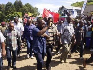 Democratic Republic of Congo's President Joseph Kabila (front C) waves as he walks in a file photo. REUTERS/Kenny Katombe