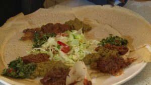 "Injera is made from teff, considered the new ""super grain"" as it is high in protein and calcium"