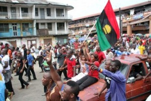 The Indigenous People of Biafra on a Peaceful Protest over the Arrest of the Director of Radio Biafra yesterday along Ikwerre road in Port Harcourt, Rivers State. Photo: Nwankpa Chijioke(Vanguard)