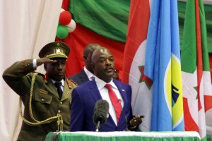 Burundi's President Pierre Nkurunziza delivers a speech after being sworn-in for a controversial third term in power, at the Congress Palace in Kigobe district, Bujumbura on August 20, 2015 (AFP Photo/Landry Nshimiye)