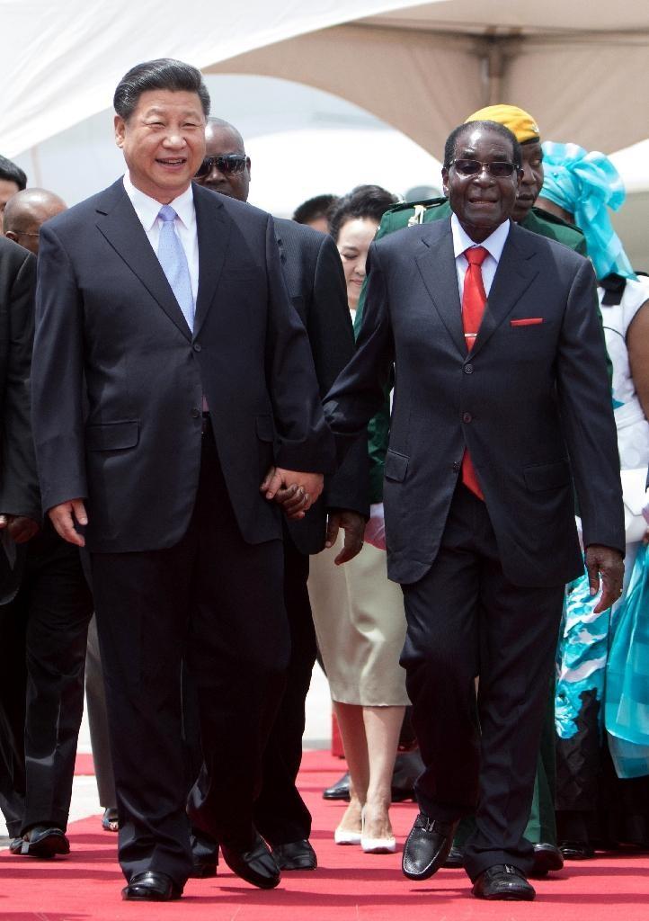 Chinese President Xi Jinping (L) walks with Zimbabwe's President Robert Mugabe in Harare on December 1 2015 (AFP Photo/Jekesai Njikizana)