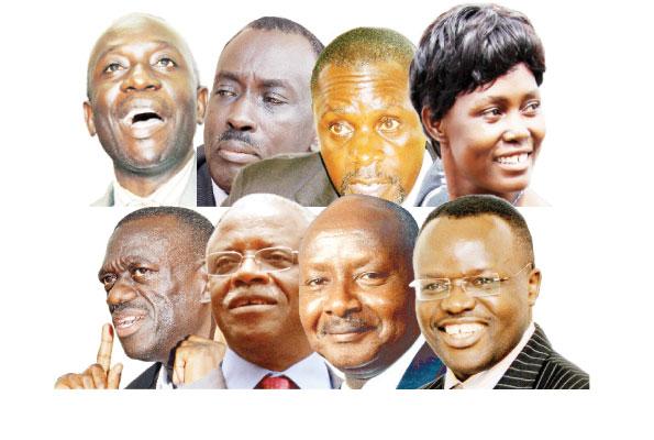 Clockwise: Mr Mabirizi, Gen Biraaro, Dr Abed Bwanika, Ms Kyalya, Prof Baryamureeba, President Museveni, Mr Mbabazi and Dr Besigye