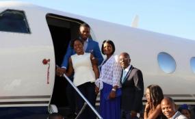 Photo: Nyasa Times Prophet Shepherd Bushiri prepares to enter his private jet.