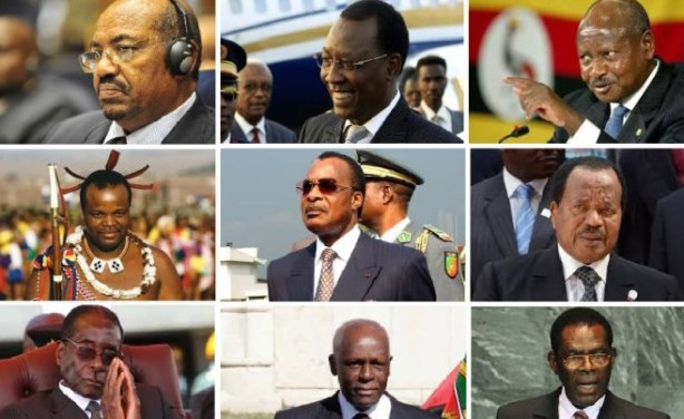 Photo: AfricaPlus/African Leadership Some African leaders with 20 years in power, from top left to bottom right: Omar al-Bashir, Sudan; Idress Deby Itno, Chad; Yoweri Museveni, Uganda; King Mswati III, Swaziland; Denis Sassou Nguesso, Republic of the Congo; Paul Biya, Cameroon; Robert Mugabe, Zimbabwe; Jose Eduardo Dos Santos, Angola; Teodoro Obiang Nguema Mbasongo, Equatorial Guinea.