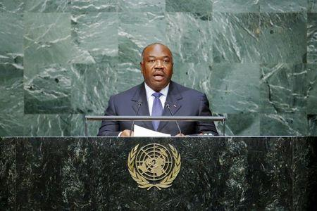 Gabon's President Ali Bongo Ondimba addresses attendees during the 70th session of the United Nations General Assembly at the U.N. headquarters in New York, September 28, 2015. REUTERS/Eduardo Munoz