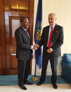 Jonathan with Secretary-General, Kamalesh Sharma