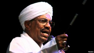 FILE - Sudan's President Omar Hassan al-Bashir speaks to the crowd after a swearing-in ceremony at green square in Khartoum, June 2, 2015