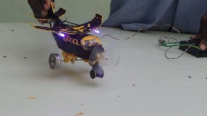 Guled connects the toys to a battery-powered control box to get the parts to move
