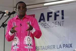 """FILE - FPI leader Pascal Affi Nguessan, shown campaigning last October in Gagnoa, Ivory Coast, says his delegation's meeting with President Alassane Ouattara on Jan. 21, 2016, produced """"real progress"""" toward resolving differences with the government."""