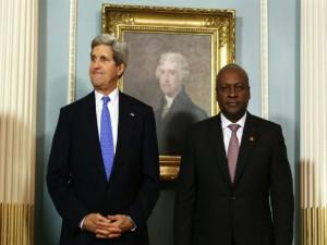 U.S. Secretary of State John Kerry (L) and President of Ghana John Dramani Mahama