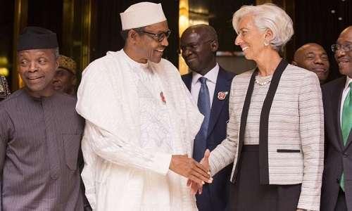 L-R Osinbajo, Buhari, Fashola, Christine Lagarde (Informationng.com)