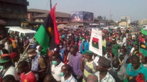 Protesters at a recent march calling for the independence of Biafra