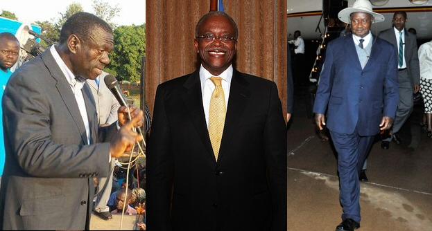 The three frontrunners: Kizza Besigye (left); Amama Mbabazi (centre); Yoweri Museveni (right). Credit: Kizza Besigye; Stephen Wandera/UNDP; GCIS