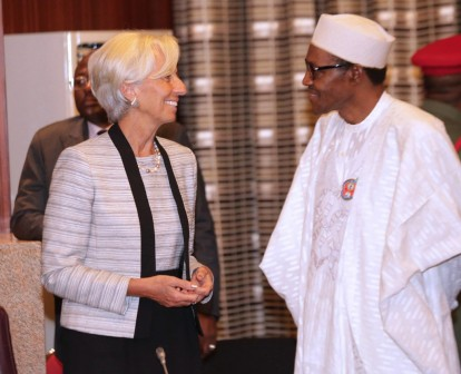 Christine Lagarde, Managing Director, International Monetary Fund at the State House, Abuja with President Muhammadu Buhari