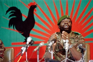 Jonas Savimbi addresses soldiers in Jamba on December 11, 1985 (AFP Photo/Christian Chaise)