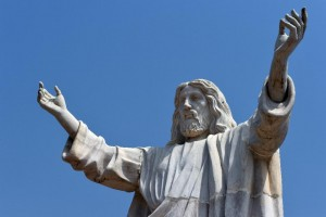 The nine-metre tall statue of Jesus Christ carved from white marble, thought to be the biggest of its kind in Africa, is unveiled in Abajah, southeastern Nigeria on January 1, 2016 (AFP Photo/Pius Utomi Ekpei)